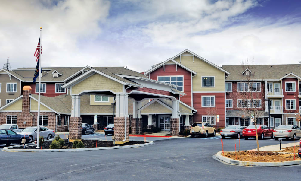 Building exterior and main entrance at Sterling Heights Gracious Retirement Living in Bethlehem, Pennsylvania