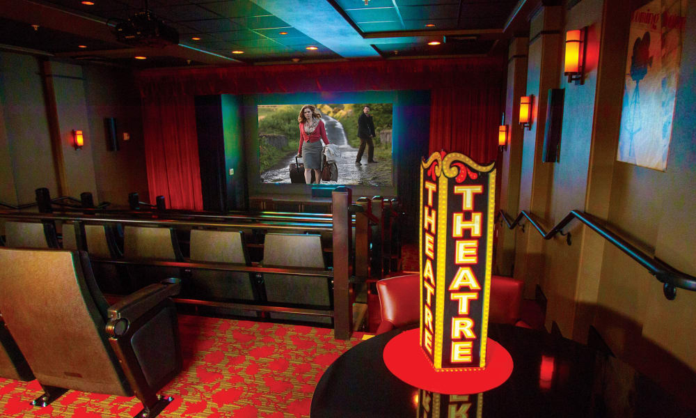 The onsite movie theater for residents at Sterling Heights Gracious Retirement Living in Bethlehem, Pennsylvania