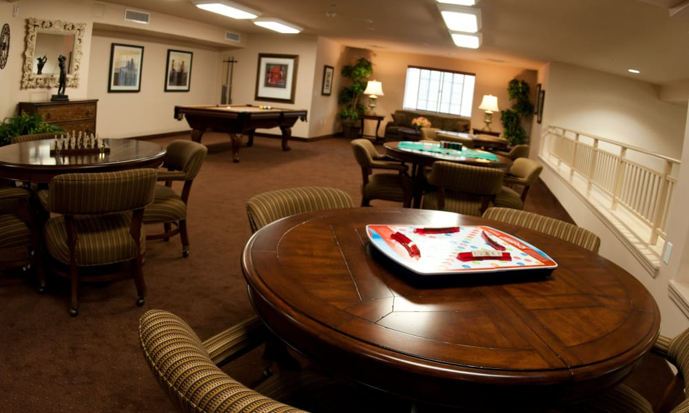 The game room for residents at Stoneridge Gracious Retirement Living in Cary, North Carolina