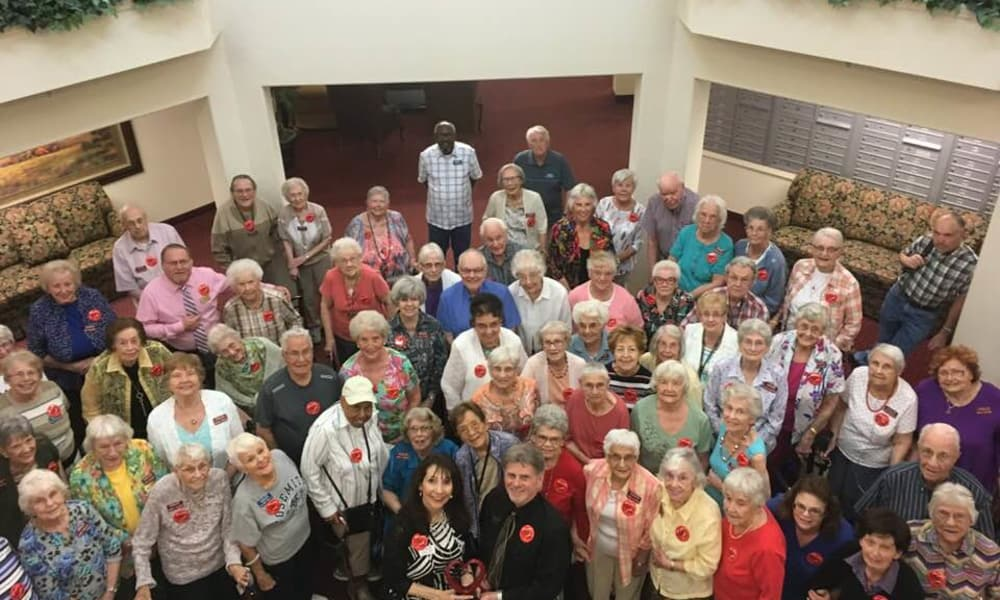 Residents gathered for a group photo at Summit Glen in Colorado Springs, Colorado