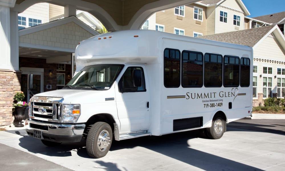 The community bus in front of Summit Glen in Colorado Springs, Colorado
