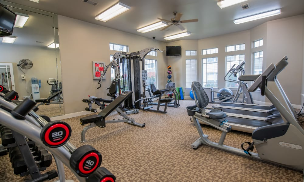 The fitness center at Colonies at Hillside in Amarillo, Texas