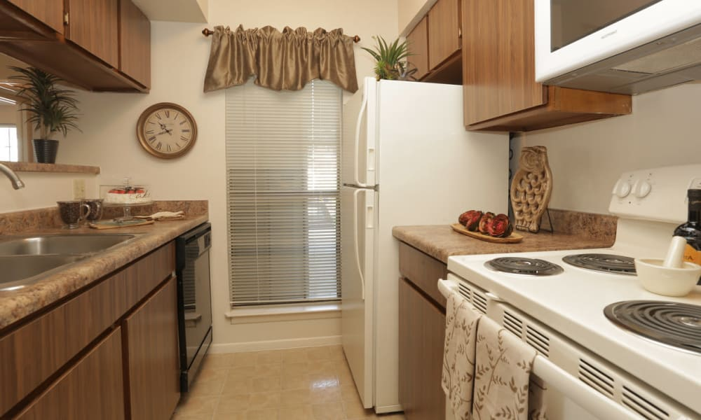 An apartment kitchen at High Ridge Apartments in El Paso, Texas