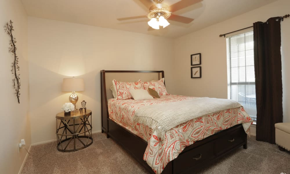 An apartment bedroom at High Ridge Apartments in El Paso, Texas