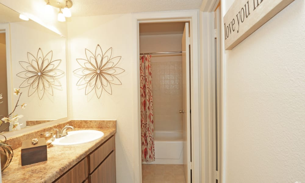 An apartment bathroom at High Ridge Apartments in El Paso, Texas