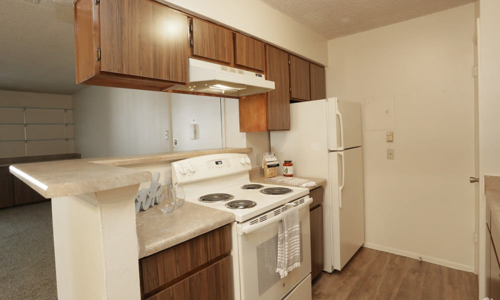 An open apartment kitchen at High Ridge Apartments in El Paso, Texas