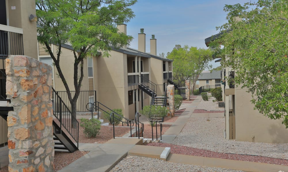 A row of apartments at Double Tree Apartments in El Paso, Texas