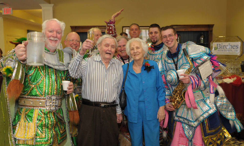 Group photo of residents at a party at The Birches at Newtown in Newtown, Pennsylvania
