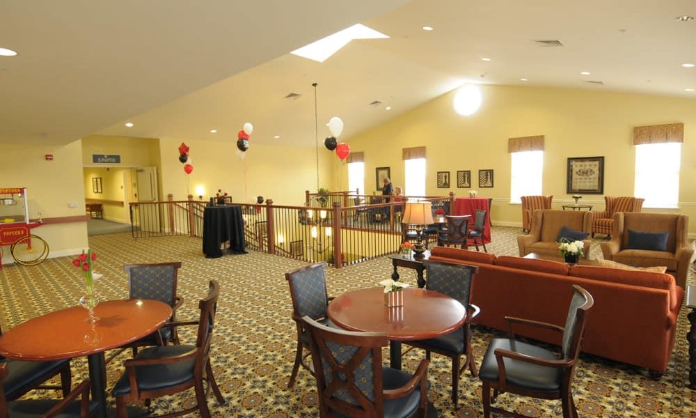 Upstairs dining room at The Birches at Newtown in Newtown, Pennsylvania