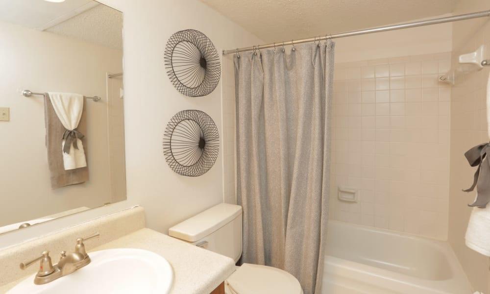 A bright bathroom at Double Tree Apartments in El Paso, Texas