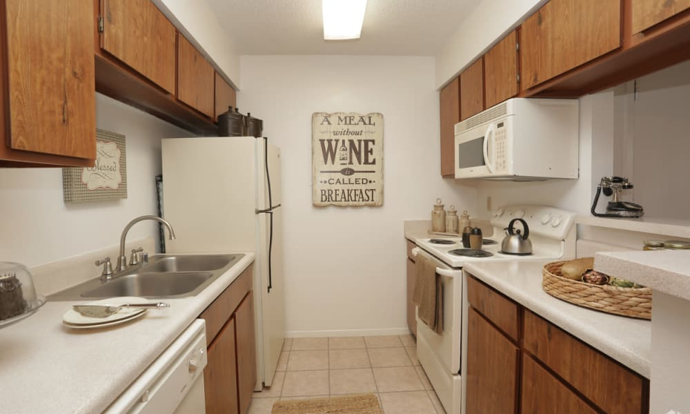 An apartment kitchen at Double Tree Apartments in El Paso, Texas