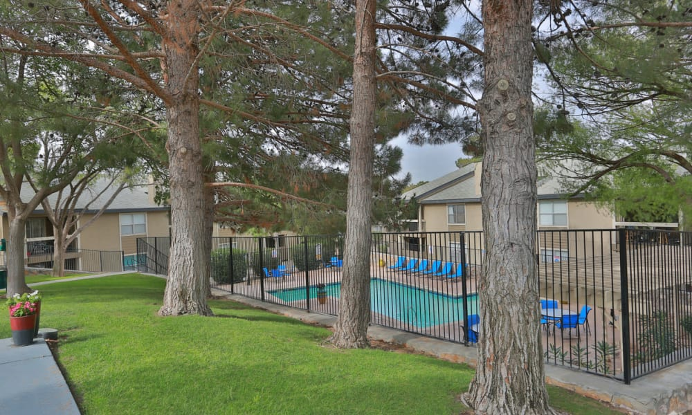 A gated community pool at Double Tree Apartments in El Paso, Texas