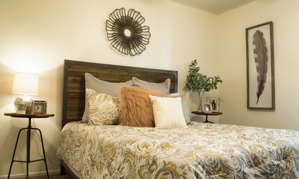 An apartment bedroom at The Chimneys Apartments in El Paso, Texas