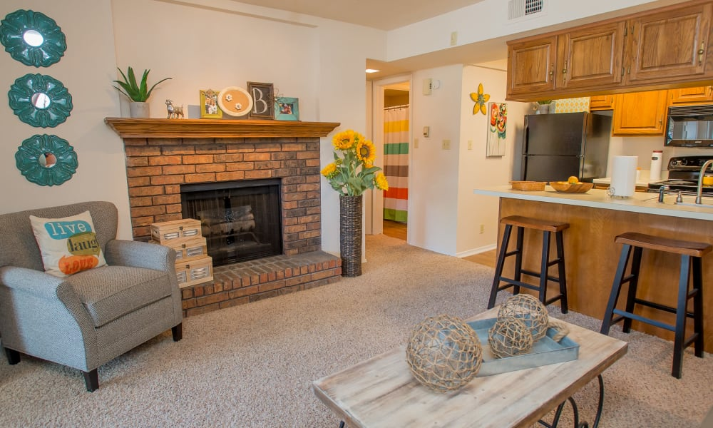 An apartment living room at Barrington Apartments in Tulsa, OK