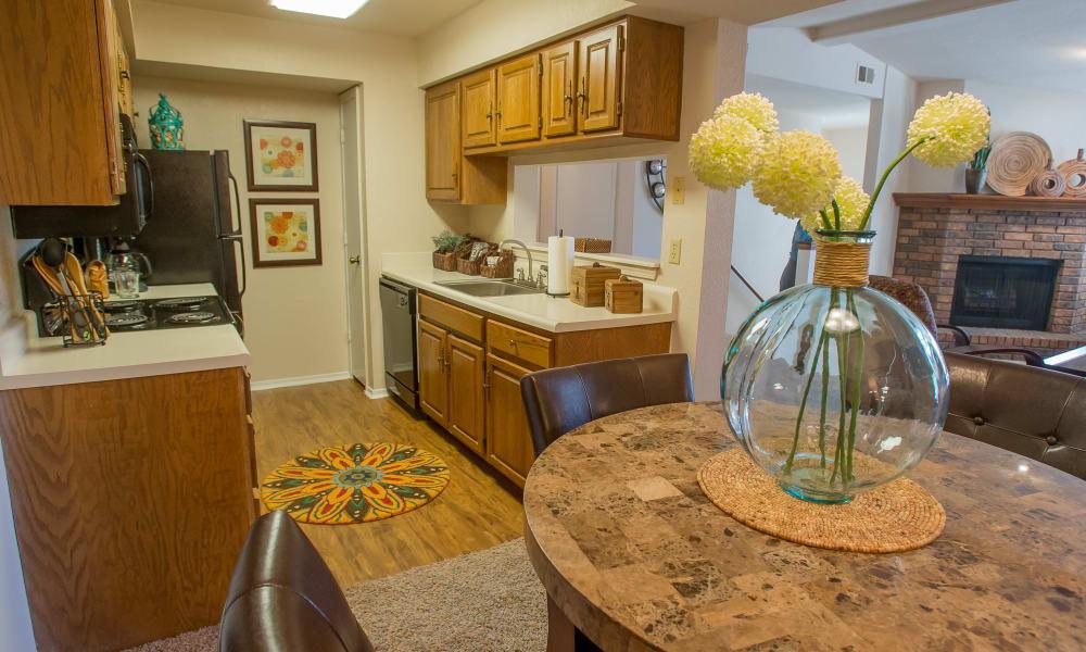 An apartment kitchen at Barrington Apartments in Tulsa, OK