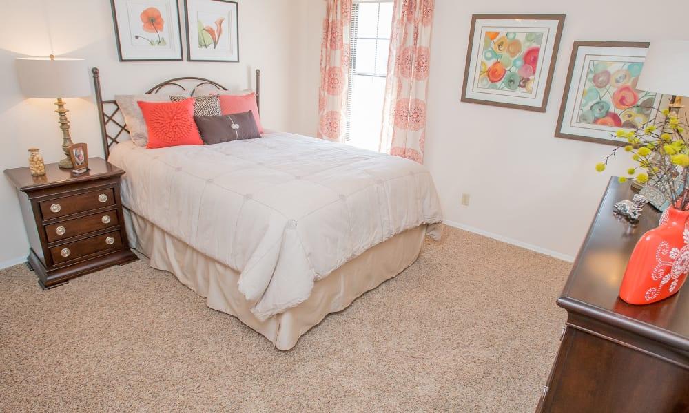 An apartment bedroom at Barrington Apartments in Tulsa, OK