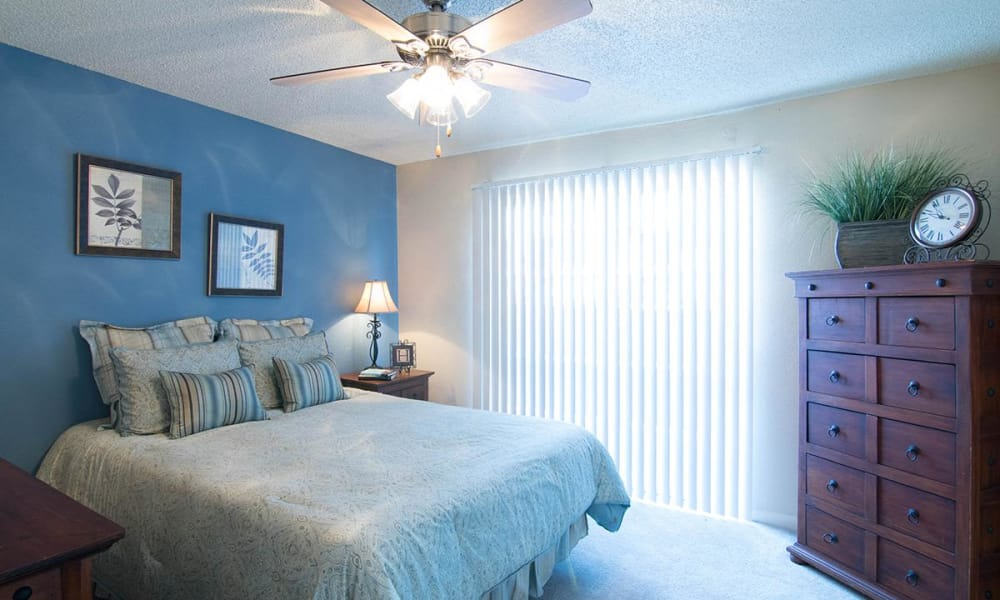 Bright bedroom at 2111 Holly Hall in Houston, Texas