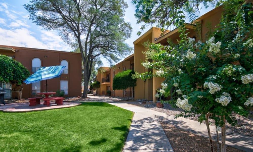 Outdoor walkway at Casa Tierra in Albuquerque, New Mexico