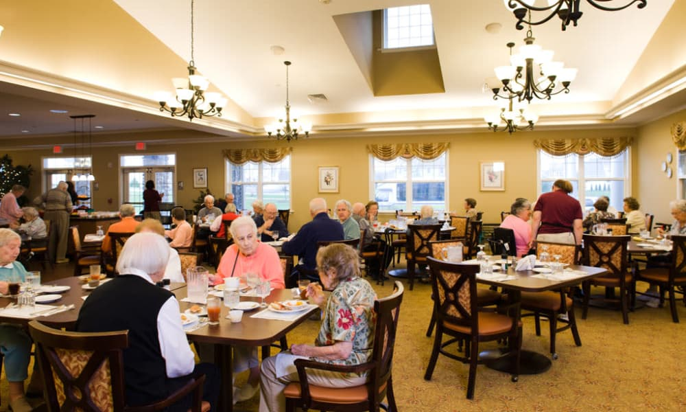 Residents eating in the dining hall at Traditions of Hershey in Palmyra, Pennsylvania