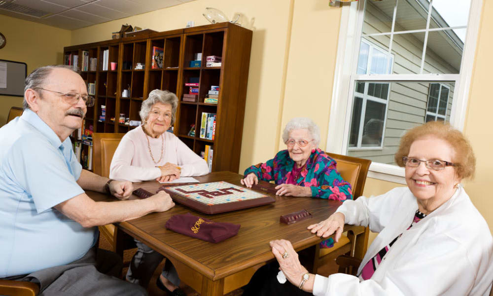 Post-game picture of residents playing scrabble at Traditions of Hershey in Palmyra, Pennsylvania