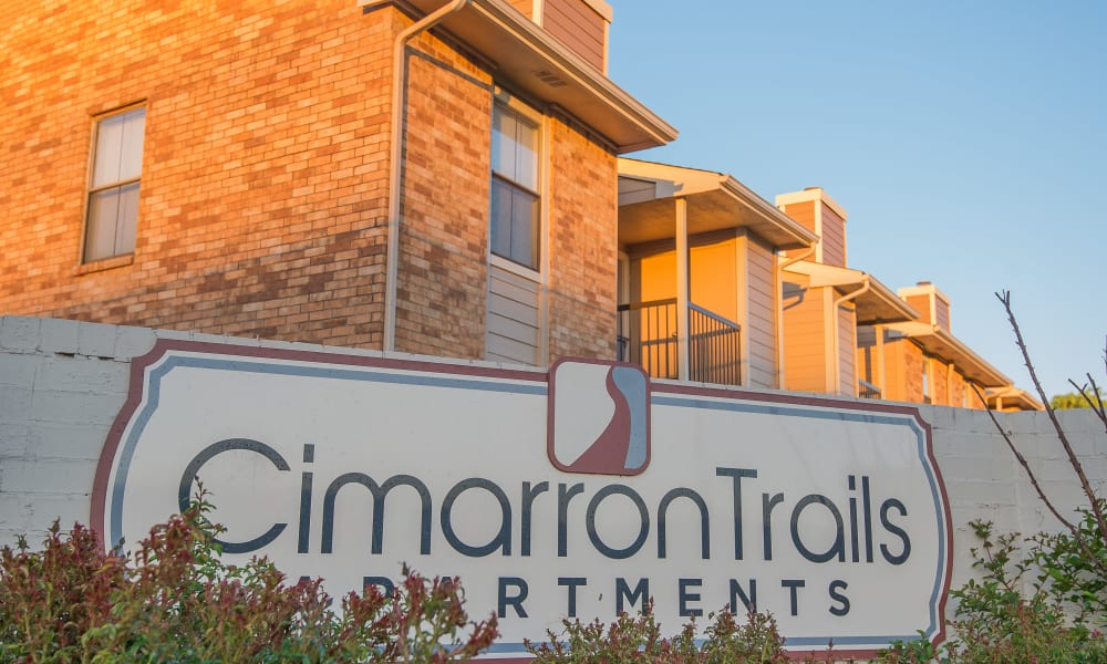 The sign in front of Cimarron Trails Apartments in Norman, OK