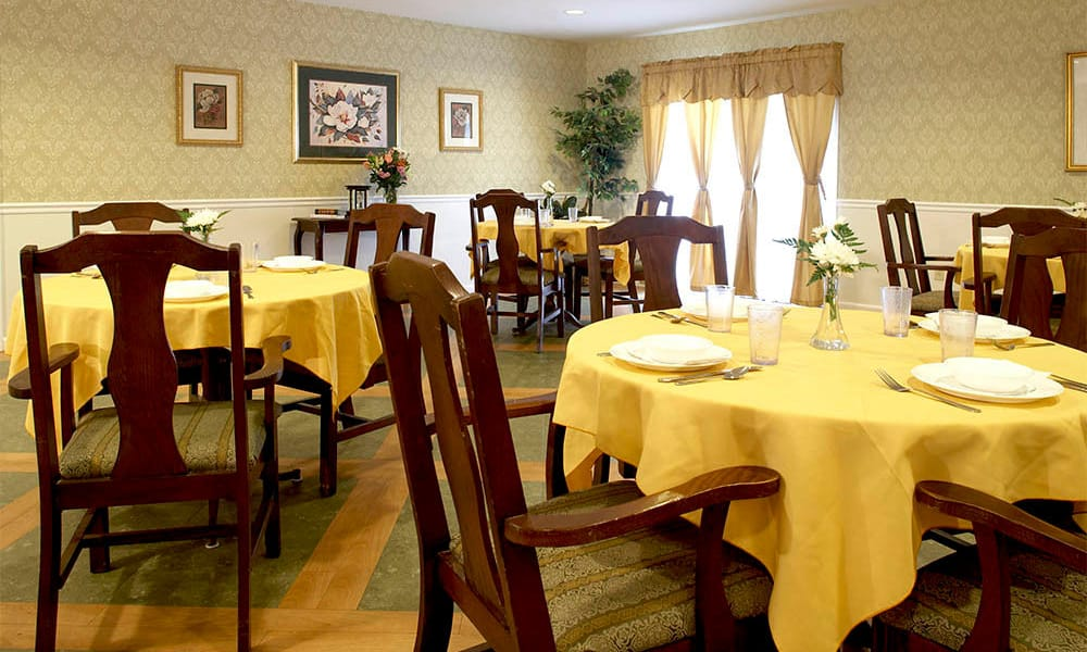 Dining hall set for dinner at Heritage Hill Senior Community in Weatherly, Pennsylvania