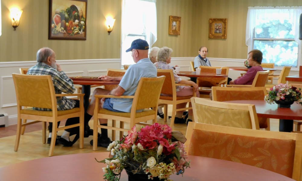 Residents having a meal in the dining hall at Heritage Hill Senior Community in Weatherly, Pennsylvania