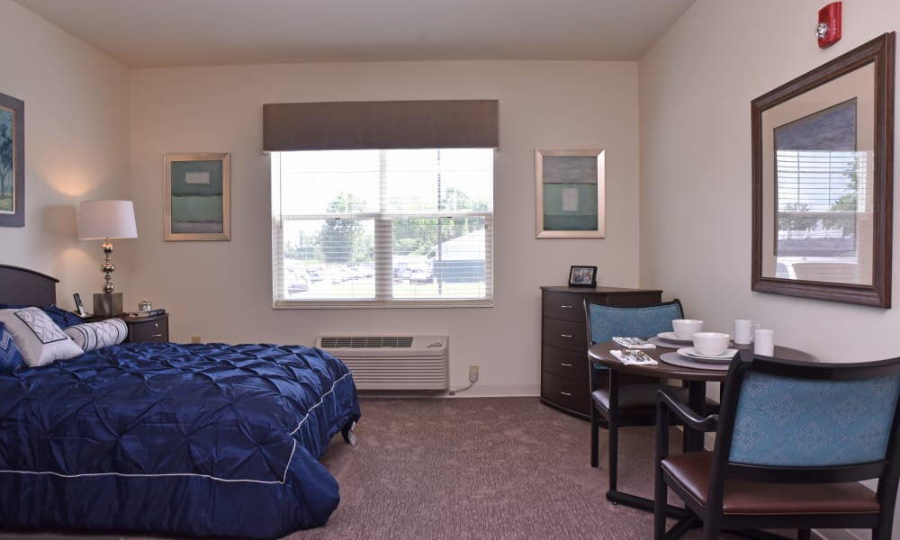 A decorated model bedroom at Violet Springs Health Campus in Pickerington, Ohio.