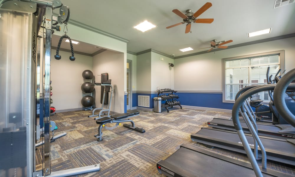 Community fitness gym at The Atlantic Station in Fort Worth, Texas