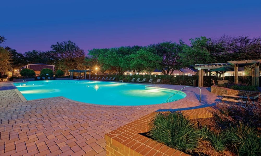 Night time pool photo at Maple Bay Townhomes in Virginia Beach, Virginia