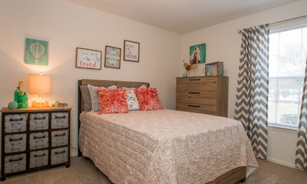 An apartment bedroom at Tammaron Village Apartments in Oklahoma City, OK