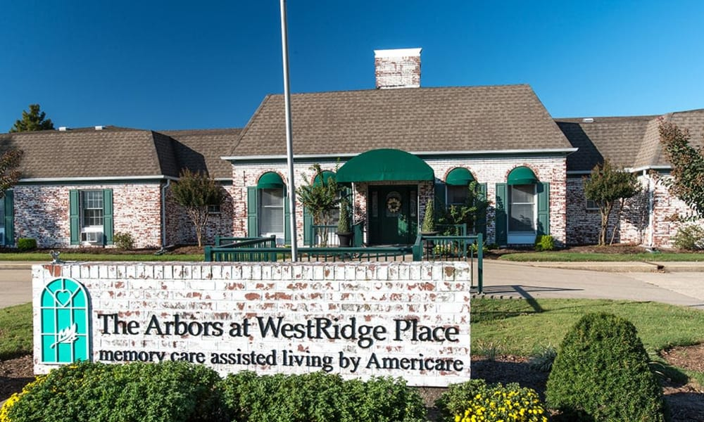 Welcome sign at The Arbors at WestRidge Place Senior Living in Sikeston, Missouri