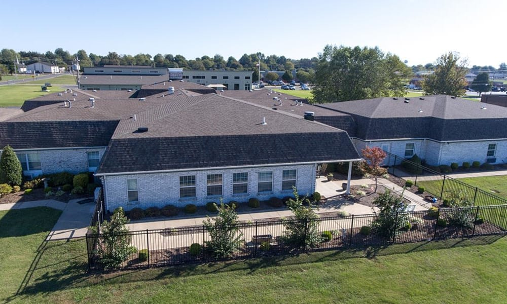 Aerial view of The Arbors at WestRidge Place Senior Living in Sikeston, Missouri