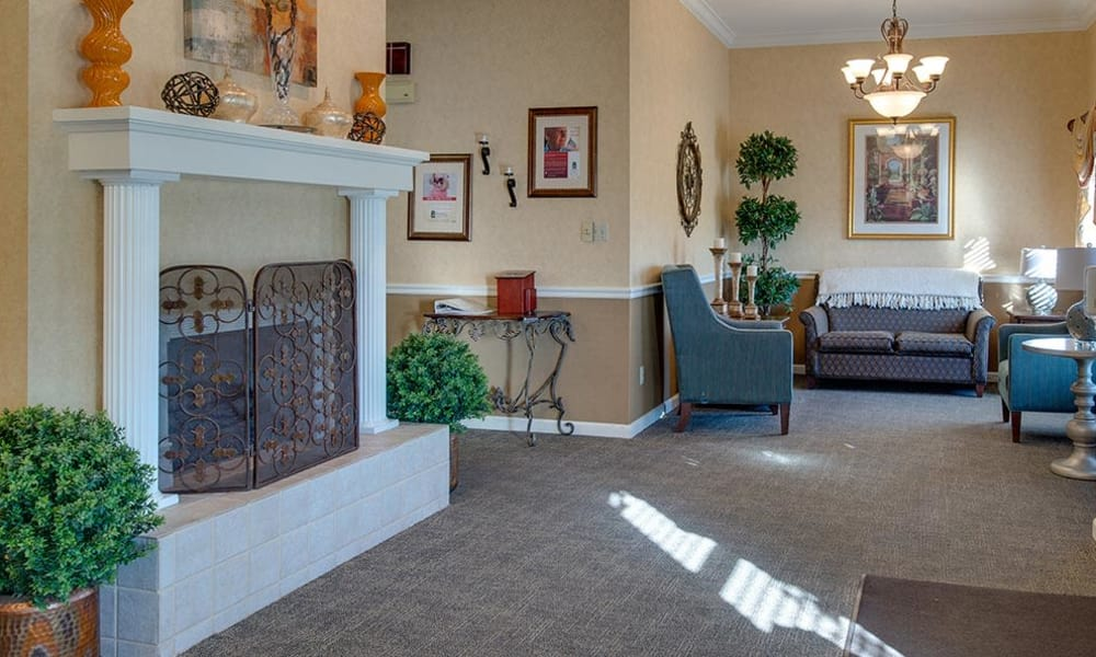 Fireside lounge at The Arbors at WestRidge Place Senior Living in Sikeston, Missouri