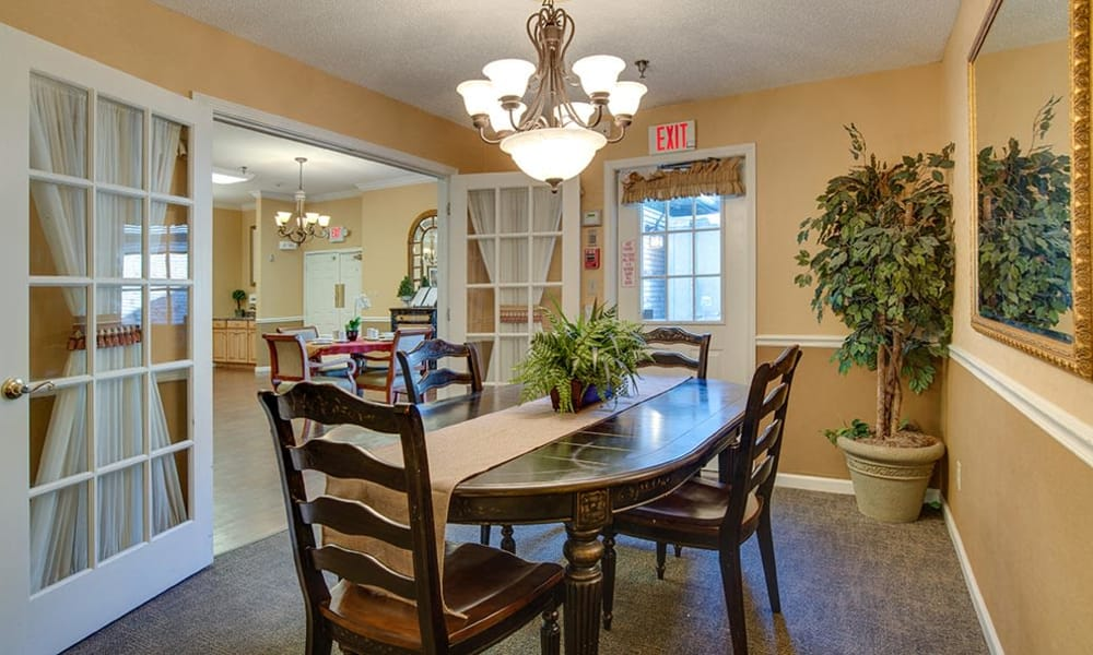 Private dining room at The Arbors at WestRidge Place Senior Living in Sikeston, Missouri