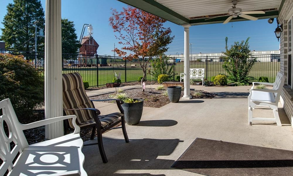Back patio at The Arbors at WestRidge Place Senior Living in Sikeston, Missouri