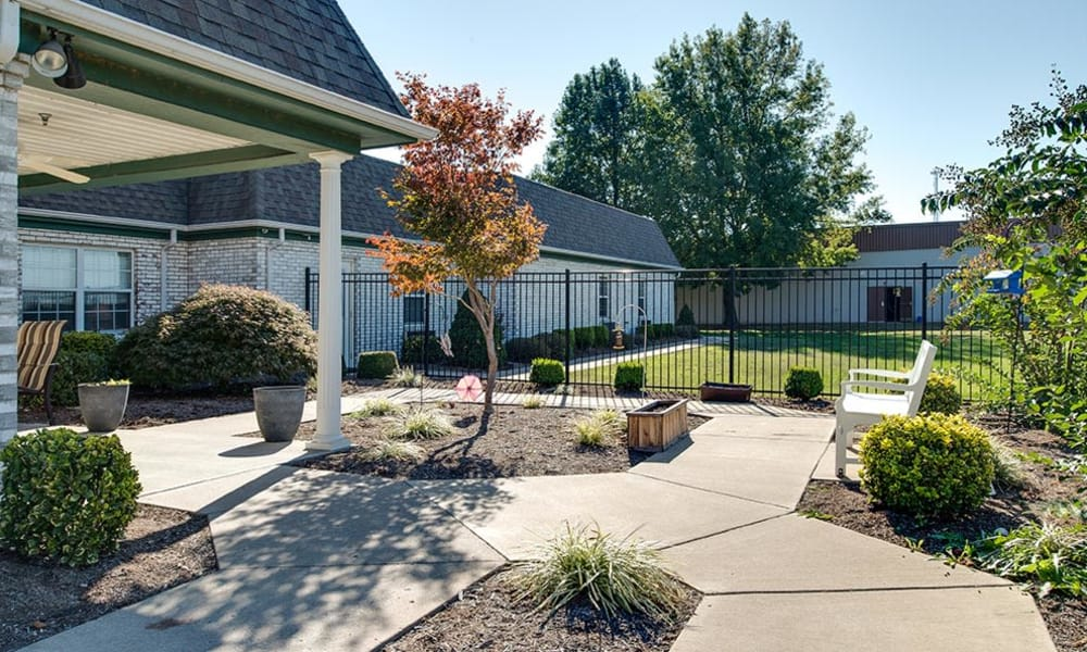 Secure outdoor walking path at The Arbors at WestRidge Place Senior Living in Sikeston, Missouri