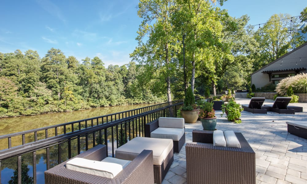 Outdoor lounge at The Halsten in Atlanta, Georgia