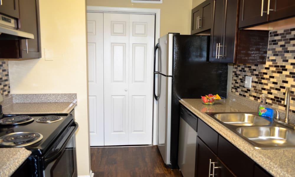 Kitchen example with appliances at The Halsten in Atlanta, Georgia