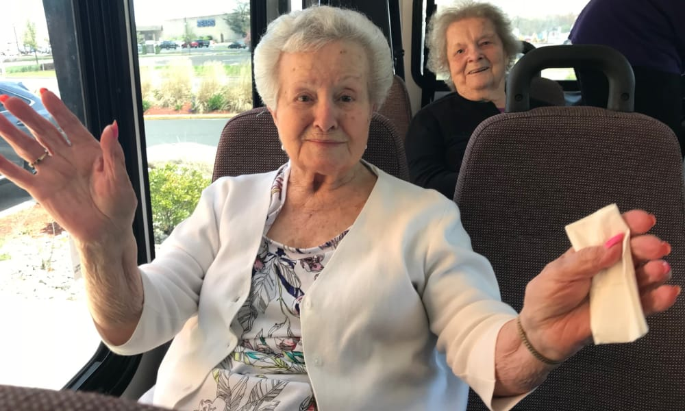 Seniors going on an outing using the shuttle bus at Cardinal Village in Sewell, New Jersey