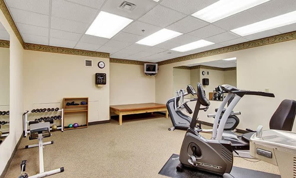 Equipped fitness center at Keystone Villa at Douglassville in Douglassville, Pennsylvania