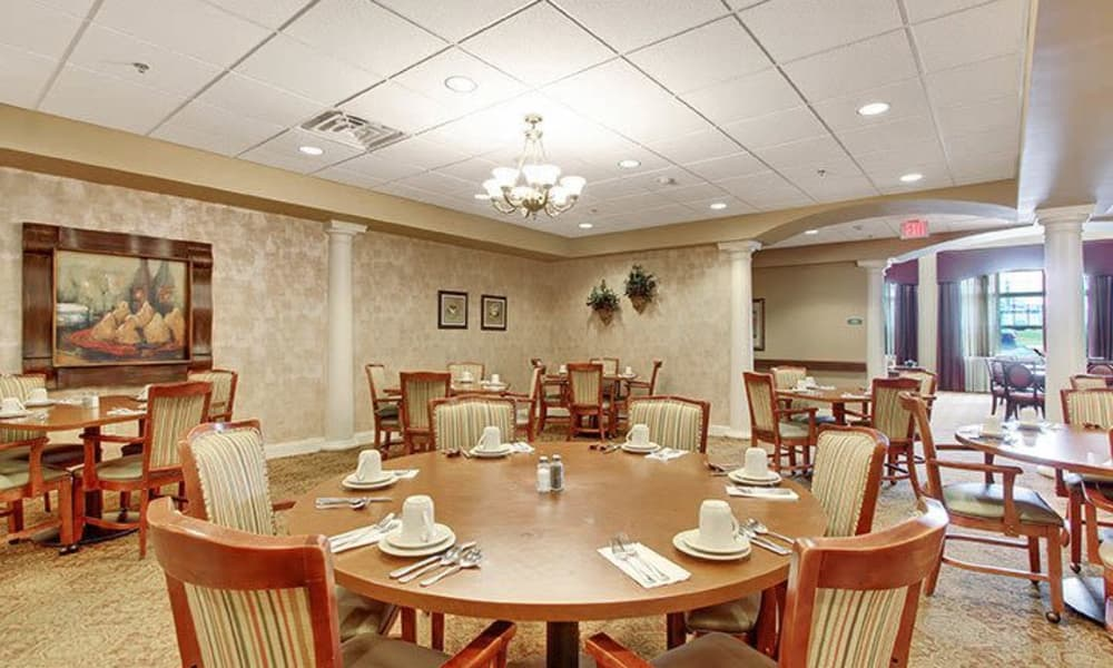 First floor dining room at Keystone Villa at Douglassville in Douglassville, Pennsylvania