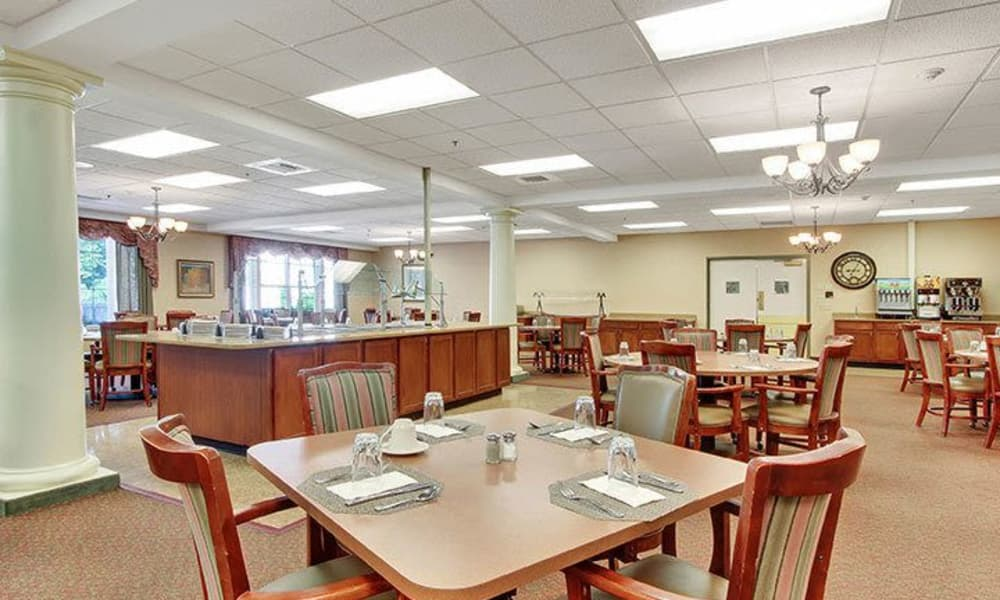 Dining room buffet at Keystone Villa at Douglassville in Douglassville, Pennsylvania