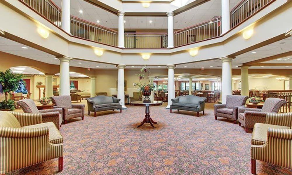 Spacious lobby at Keystone Villa at Douglassville in Douglassville, Pennsylvania