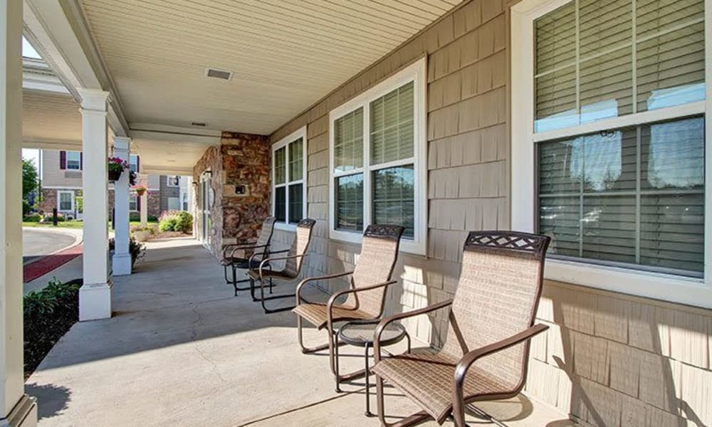 Patio and chairs at Keystone Villa at Douglassville in Douglassville, Pennsylvania
