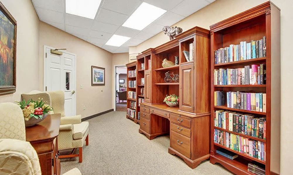 Library at Keystone Villa at Douglassville in Douglassville, Pennsylvania
