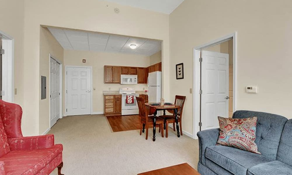 Living room of unit at Keystone Villa at Ephrata in Ephrata, Pennsylvania