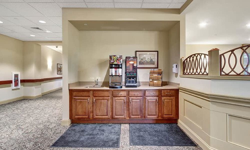 Beverage center at Keystone Villa at Ephrata in Ephrata, Pennsylvania
