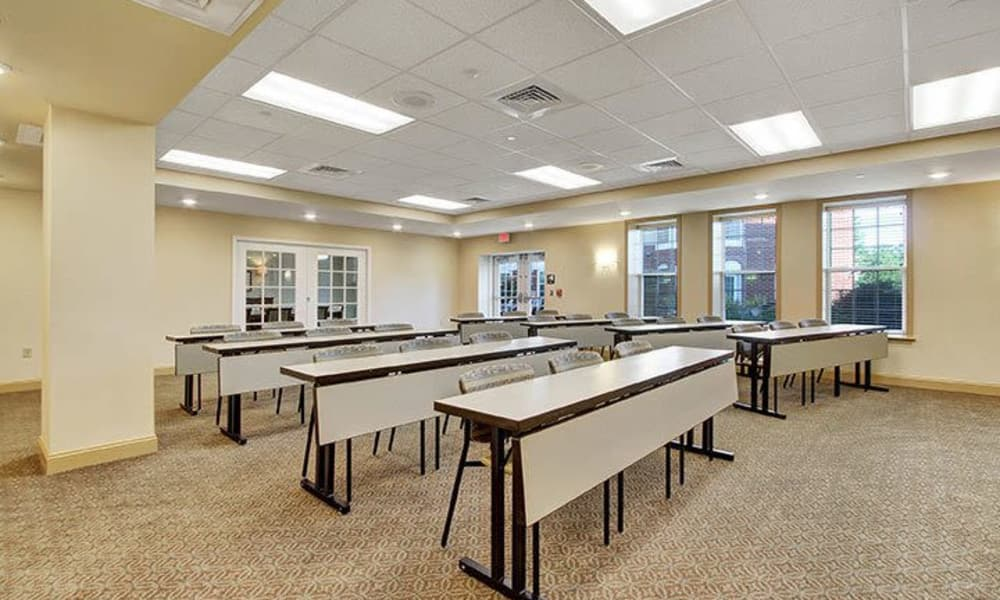 Community room with lots of space at Keystone Villa at Ephrata in Ephrata, Pennsylvania