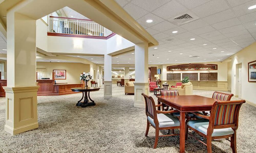 Large, open lobby at Keystone Villa at Ephrata in Ephrata, Pennsylvania